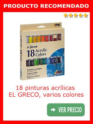 Pinturas acrílicas EL GRECO, 18 piezas de varios colores