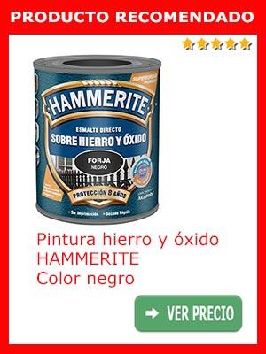 Pintura para metal y forja HAMMERITE. Color negro
