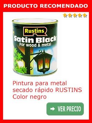 Pintura secado rápido para madera y metal RUSTINS. Color negro