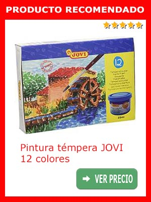 Pintura témpera JOVI 12 colores de 35 ml.