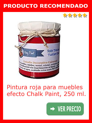 Pintura roja para muebles efecto Chalk Paint 250 ml.