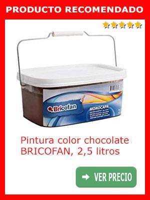 Pintura color chocolate monocapa BRICOFAN 2,5 litros