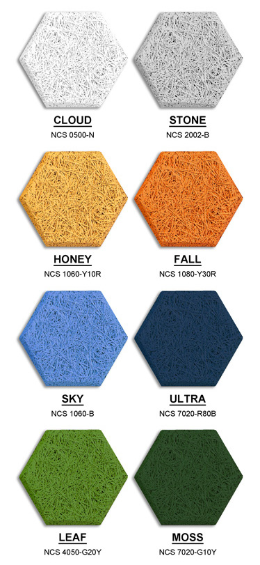 Gama de colores de los azulejos exagon