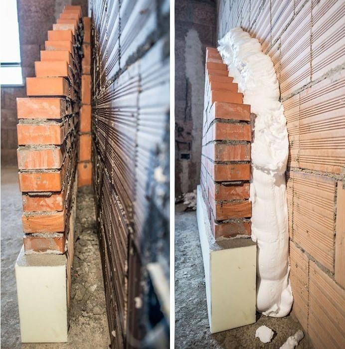 aislamiento con espuma en la cavidad de la pared